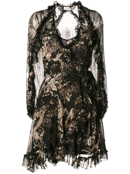 dress print dress women spandex floral print black silk