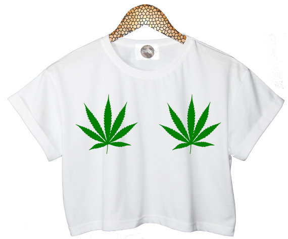 Weed leaf leaves crop t shirt customised top retro by mingalondon