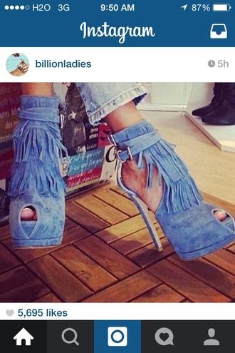 shoes blue fringe high heels fringe heels sexy open toe shoes