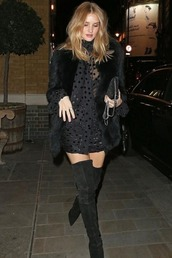 dress,mini dress,black dress,little black dress,polka dots,rosie huntington-whiteley,model off-duty,over the knee boots,shoes
