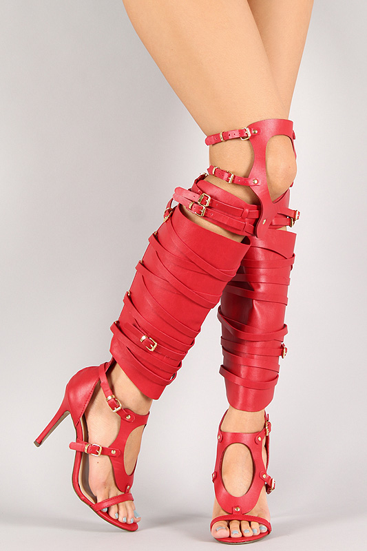 Breckelle Diva-33 Cut Out Strappy Knee High Heel