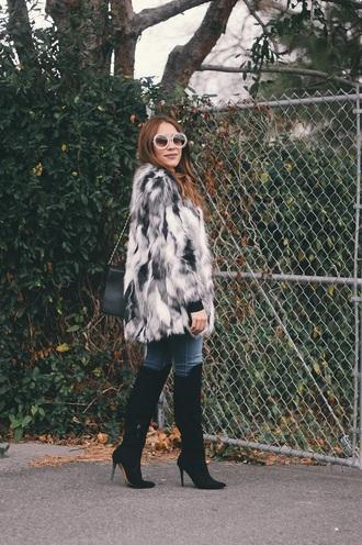 andystyle blogger coat sunglasses fur coat knee high boots high heels boots jeans bag printed fur coat