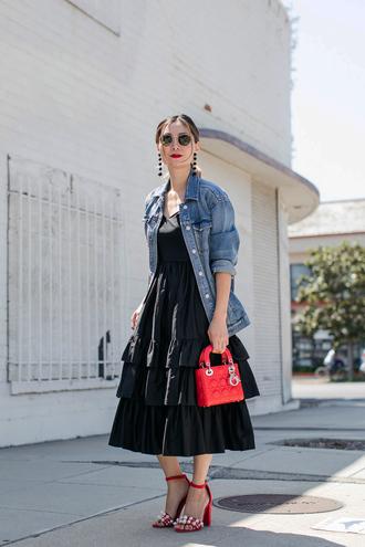 dress tumblr midi dress black midi dress ruffle ruffle dress sandals sandal heels high heel sandals red sandals jacket denim jacket denim shoes jewels