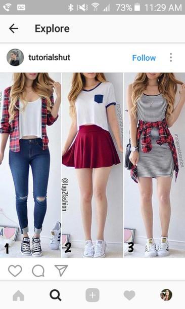 add50b3b04b jeans shirt dress flannel shirt flannel converse sneakers shoes skater  skirt skirt