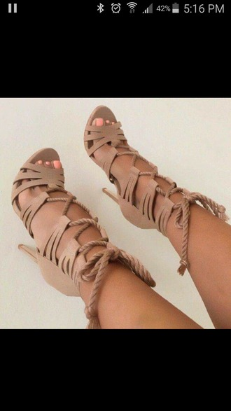 shoes high heels rope lace up heels