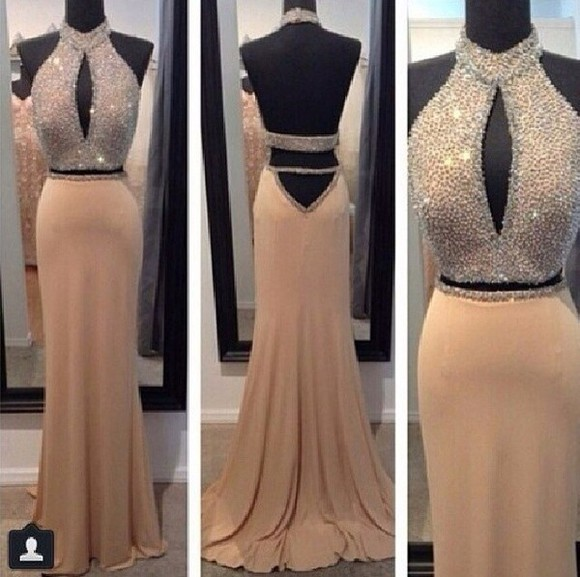 prom dress maxi dress sparkly dress beige