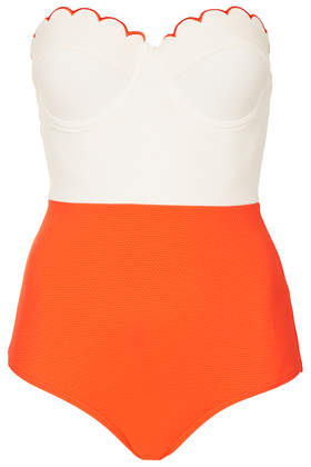 Tomato and Cream Scallop Swimsuit - Topshop