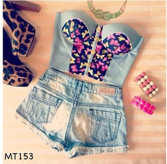 top butterfly blue sweet beautiful bustier top style