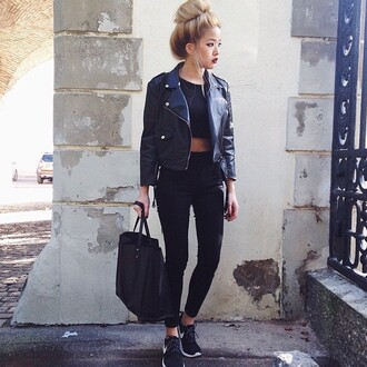 bag purse roshes babe outside asian fashion ombre hair leather jacket cropped nike nike roshe run black shoes black and white jacket