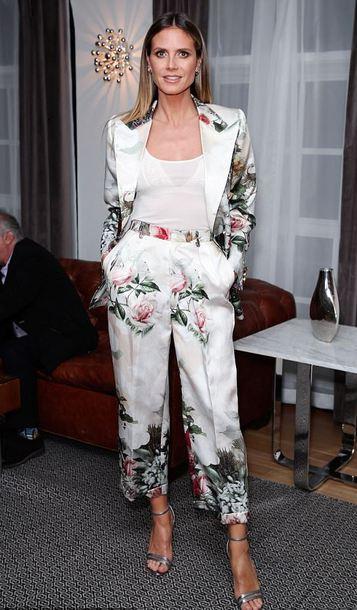 jacket blazer top sandals heidi klum floral floral pants