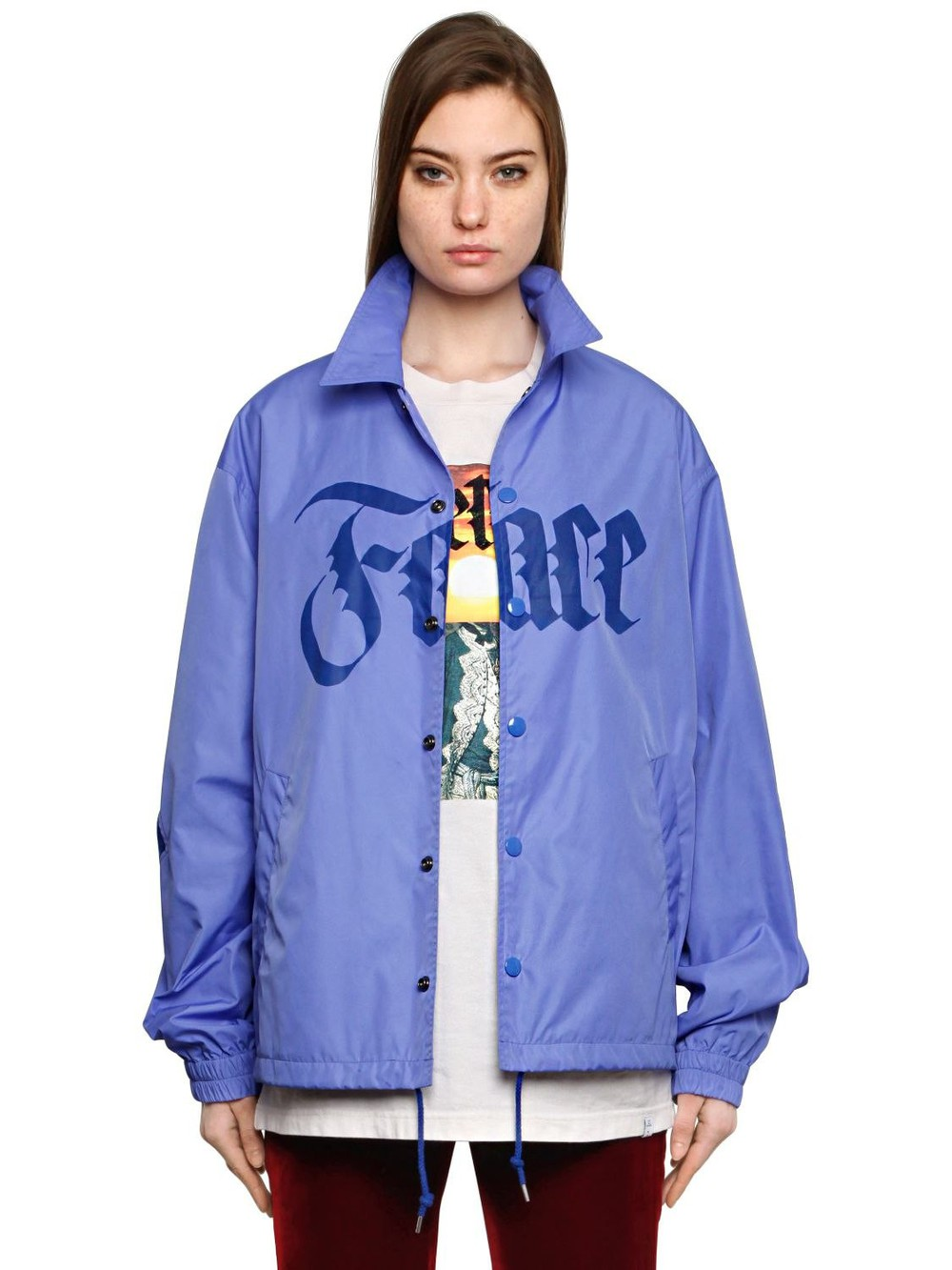 FACETASM Printed Bomber Jacket W/ Striped Inserts in blue
