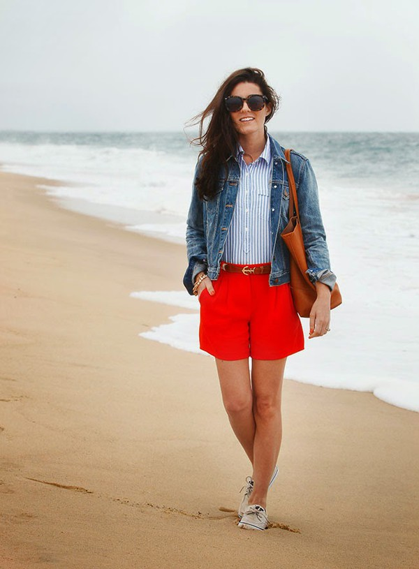 classy girls wear pearls jacket shirt shorts shoes bag belt