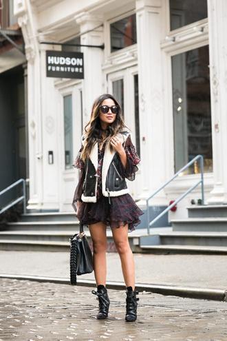 wendy's lookbook blogger jacket dress bag shoes sunglasses jewels vest black shearling jacket ankle boots