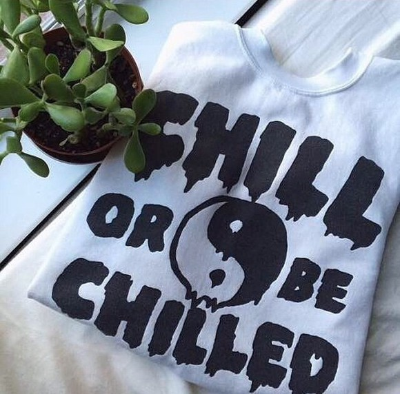 long sleeves sweater white chill style ying yang