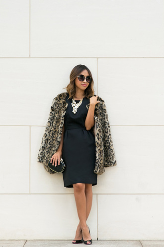 lace and locks blogger faux fur faux fur coat leopard print clutch pearl little black dress