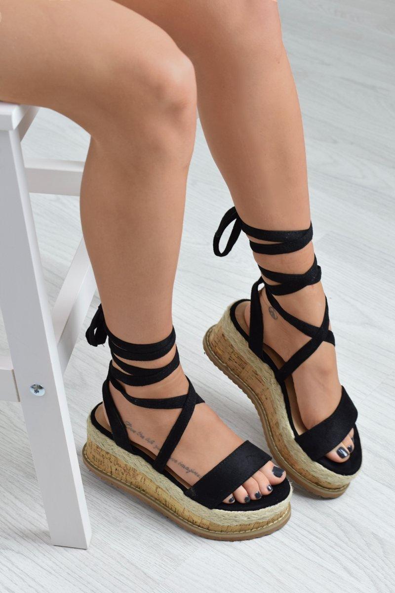 KICKIN' BACK Tie Up Cork Sandal Wedges