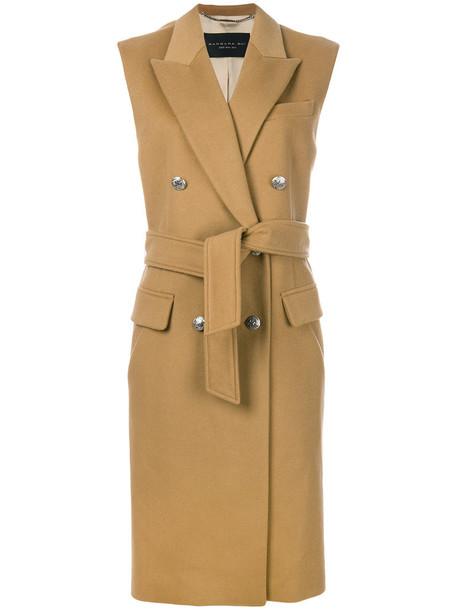 coat sleeveless double breasted women nude wool