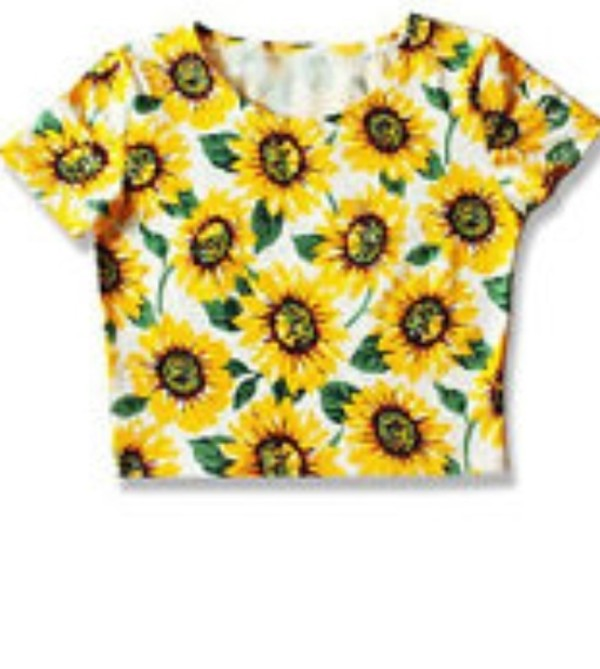t-shirt colorful brand sunflower top crop yellow flowers