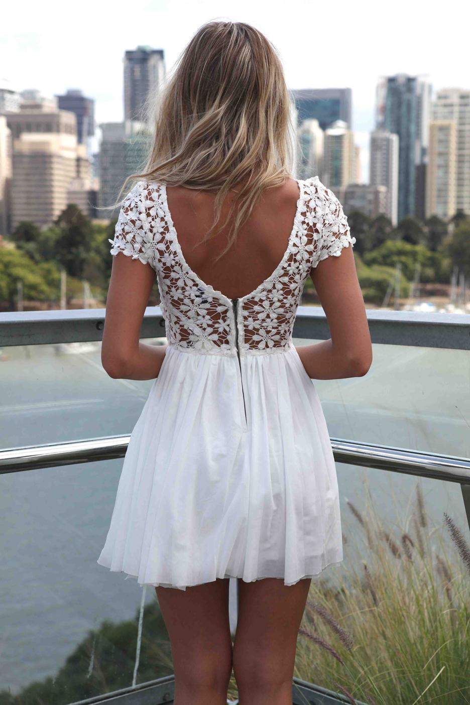 White dress with crochet top
