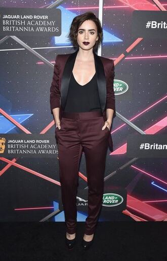 jacket suit burgundy pants lily collins top jumpsuit blazer