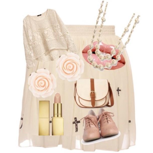 skirt h&m lace crop top cross skirt