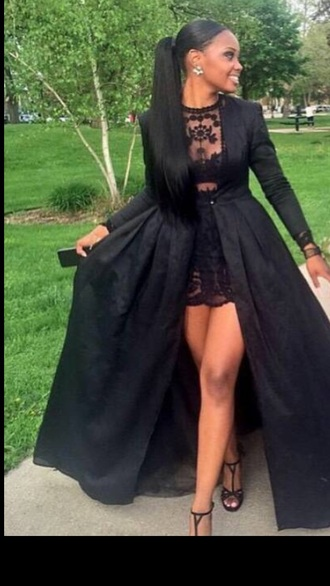 dress black cute dress dope prom dress lace dress lace i need this dress !  long sleeve dress prom dress homecoming dress long prom dress black dress beautiful lace top prom ponytail black prom dress black lace dress prom gown ball gown prom dresses evening dress bridesmaid graduation dress