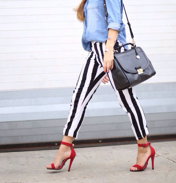 shoes red high heels bag pants