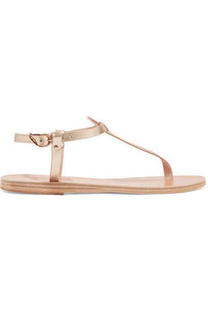 Ancient Greek Sandals - Lito Metallic Leather Sandals - Gold