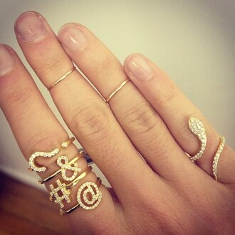 jewels ring symbols gold stacking @ $ & coat