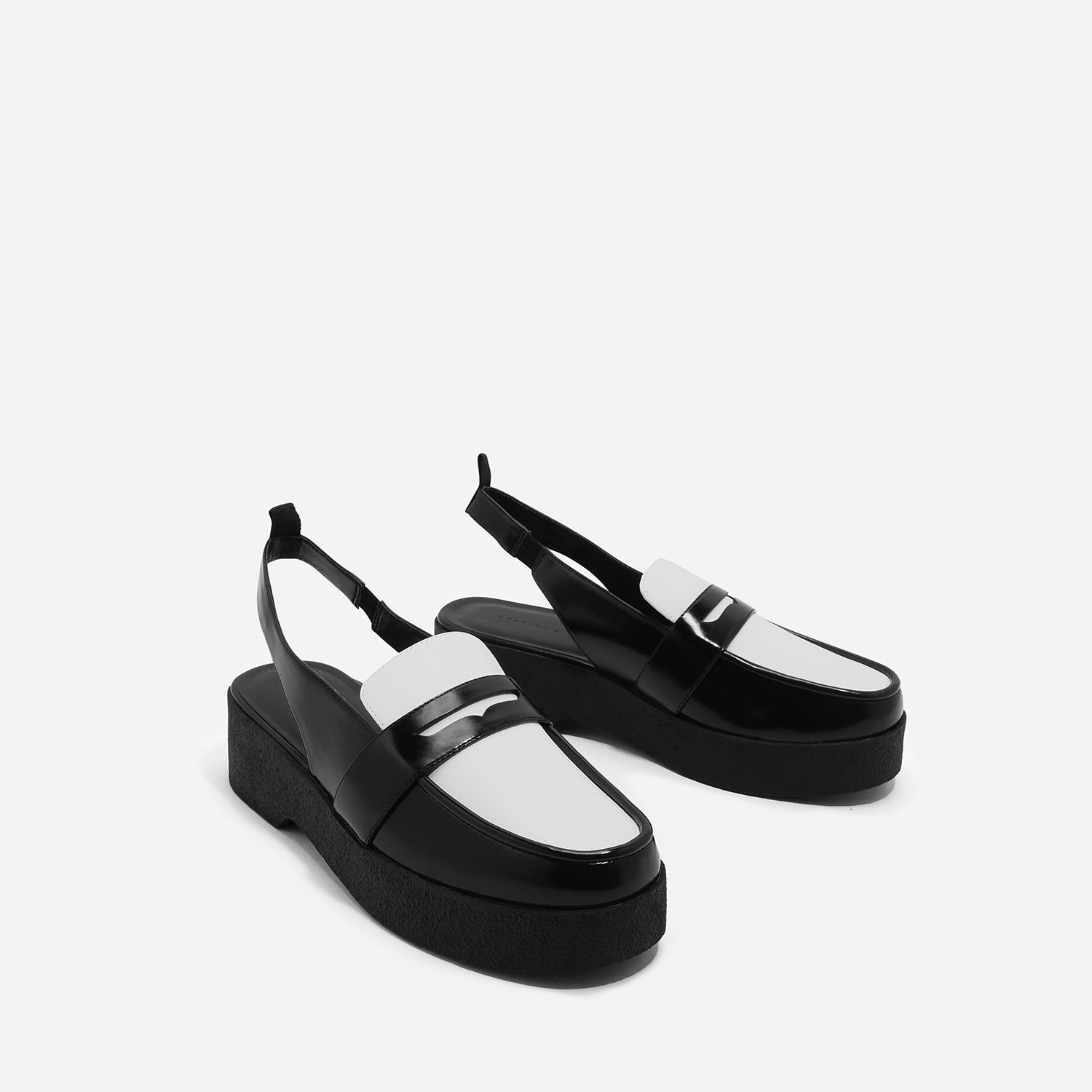 Black Sling Back Loafers | CHARLES & KEITH