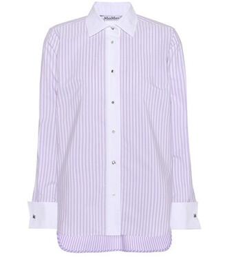 shirt tunic cotton purple top
