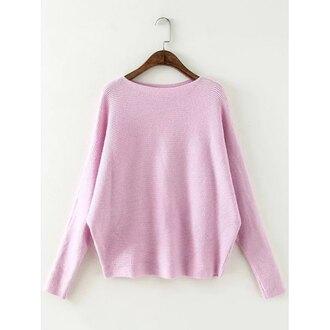 sweater pink knitwear casual light pink trendy long sleeves trendsgal.com