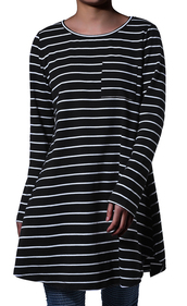 dress,casual loose dress,dress with pocket,loose shirt dress,tunic dress,t-shirt dress,striped dress,long sleeve dress,spring dress,black and white