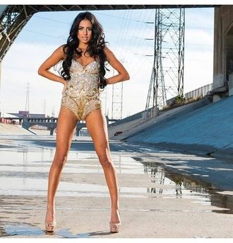 high heels glitter bodysuit