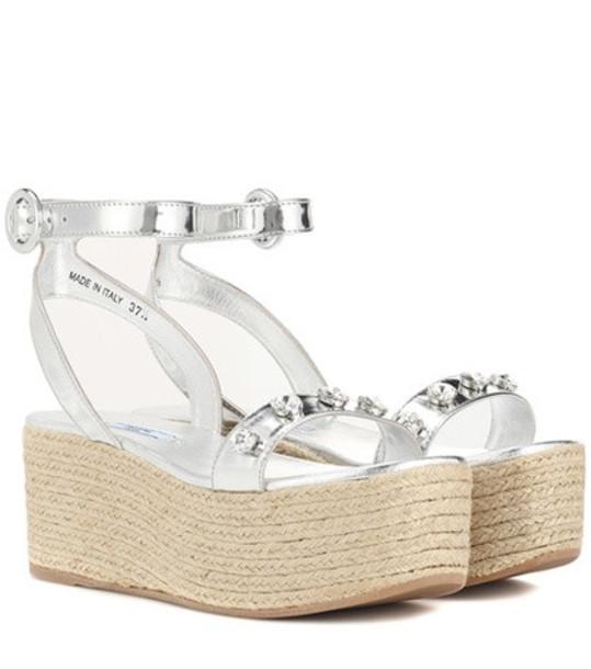 Prada Embellished espadrille sandals in silver