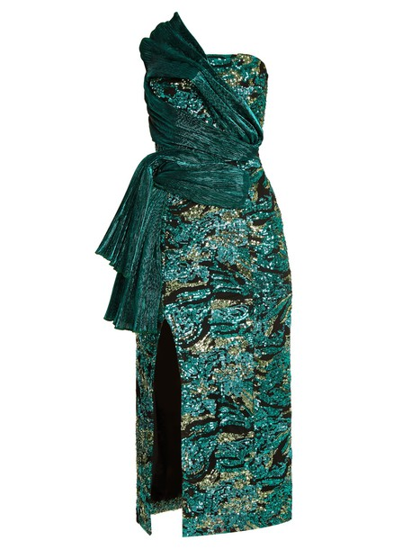 HALPERN dress strapless dress strapless embellished green