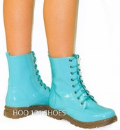 shoes,light blue combat boots