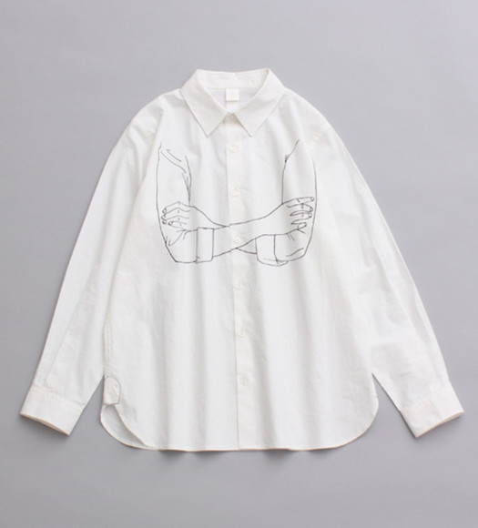 blouse button up blouse arms crossed illustration drawing