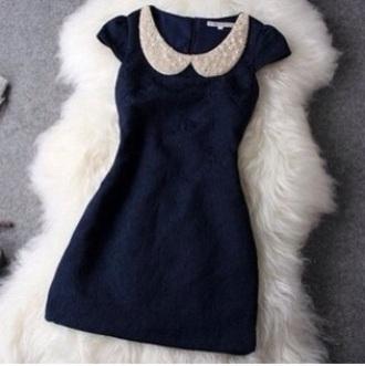 dress peter pan collar navy navy blue dress