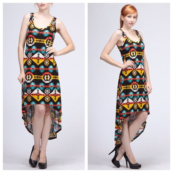 lady gaga deess boho print fashion high-low dresses tribal pattern style