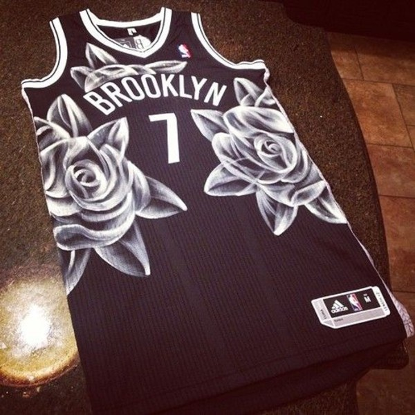 t-shirt vest shirt basketball nets black brooklyn jersey baseball jersey floral jersey jersey dope streetstyle streetwear street streetstyle swag swag clothes clothes black and white nba roses tank top adidas brooklyn 7 addidas dress number 7 lucky number roses white shirt valleys baseball tee white writting roses black flowers