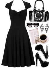 dress,little black dress,cocktail dress,formal,evening dress,black,cap sleeves,spikes,high heels,sweetheart neckline,a line,flowy,shoes,sunglasses