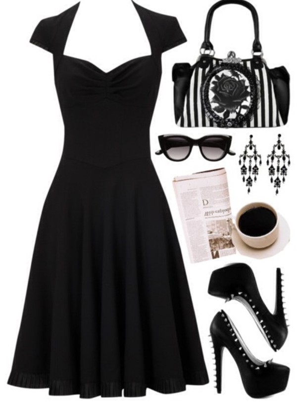 dress little black dress cocktail dress formal evening dress black cap sleeves spikes high heels sweetheart neckline a line flowy shoes sunglasses