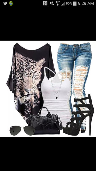 shirt off the shoulder jaguar black shirt ripped jeans black heels tiger shirt black off the shoulder top cheetah shirt jaguar shirt animal theme off the shoulder top leopard shirt loose off the shoulder loose tshirt loose fit top stilettos