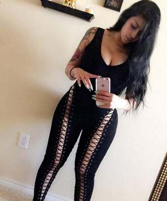 jumpsuit black punk emo goth alternative hipster edgy sleeveless lace up