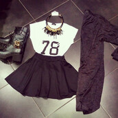 shirt,t-shirt,top,tank top,crop,crop tops,white,number,black,black skirt,cardigan,boots,black boots,black cardigan,gray cardigan,grey,78,necklace,spike necklace,gold,gold necklace,summer,spring,winter outfits,nice,cool,sweet,great,good,fabulous,jersey,streetstyle,fall outfits,skirt,jewels,shoes