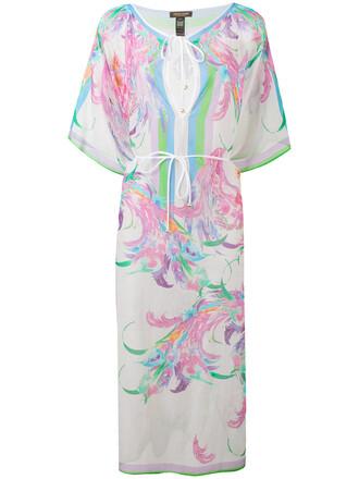 dress sheer women floral white cotton print silk