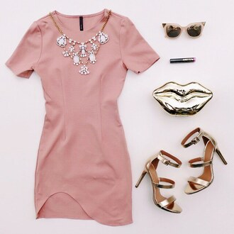 dress blush blush pink pink dress pink gold lips clutch gold heels sunglasses brunchc chic sophisticated classy girly gojane