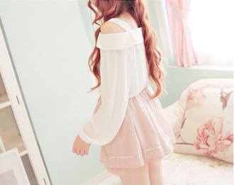 shirt off the shoulder skirt outfit white blouse pink skirt kfashion ulzzang pastel off the shoulder top