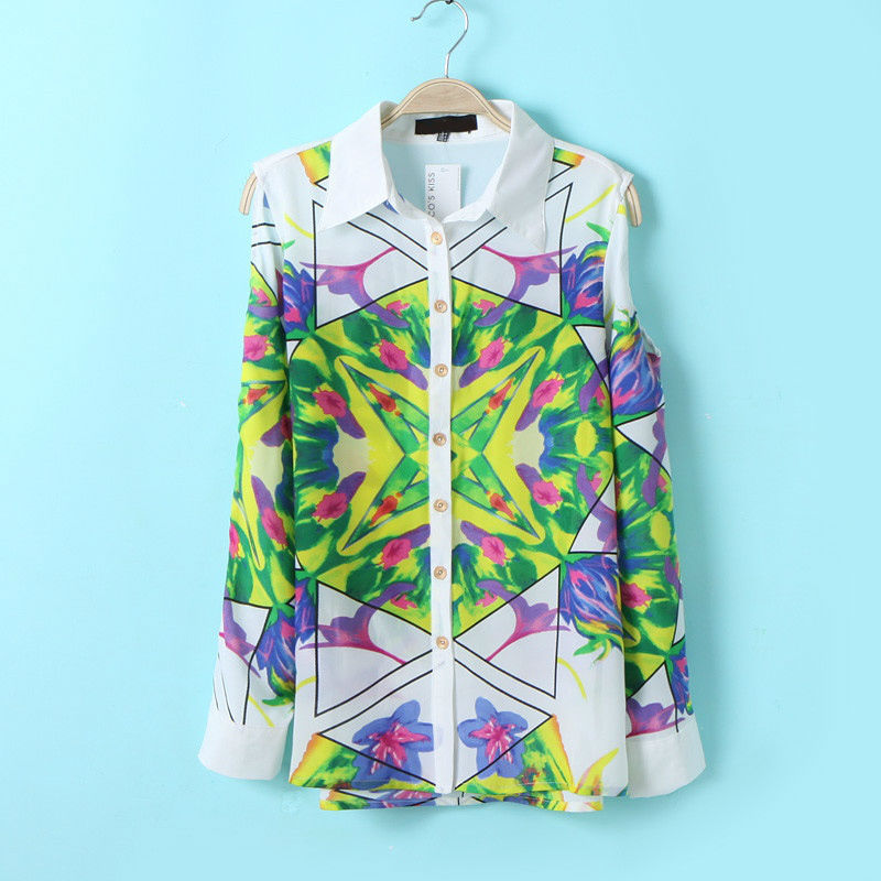 New Fashion Flowers Printing Off Shoulder Long Sleeve Casual Womens Chiffon blouse Shirt Tops Blouses for women #1078-in Blouses & Shirts from Apparel & Accessories on Aliexpress.com